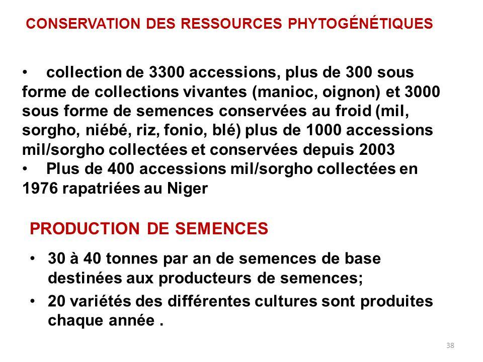 38 PRODUCTION DE SEMENCES 30 à 40 tonnes par an de semences de base destinées aux producteurs de semences; 20 variétés des différentes cultures sont p
