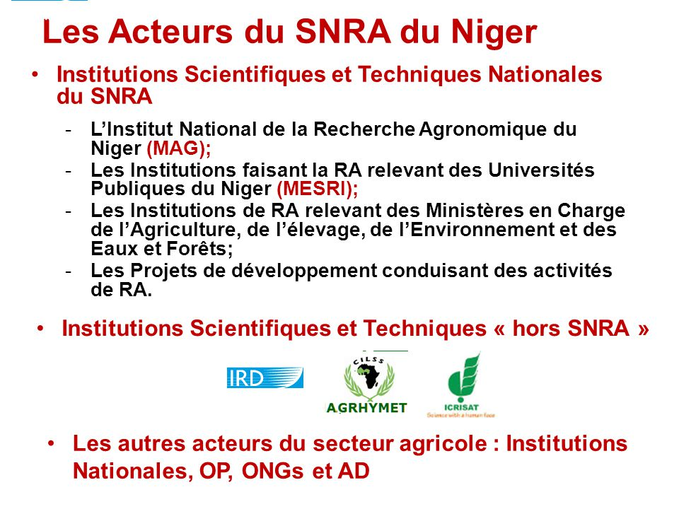 Les Acteurs du SNRA du Niger Institutions Scientifiques et Techniques Nationales du SNRA -L'Institut National de la Recherche Agronomique du Niger (MA