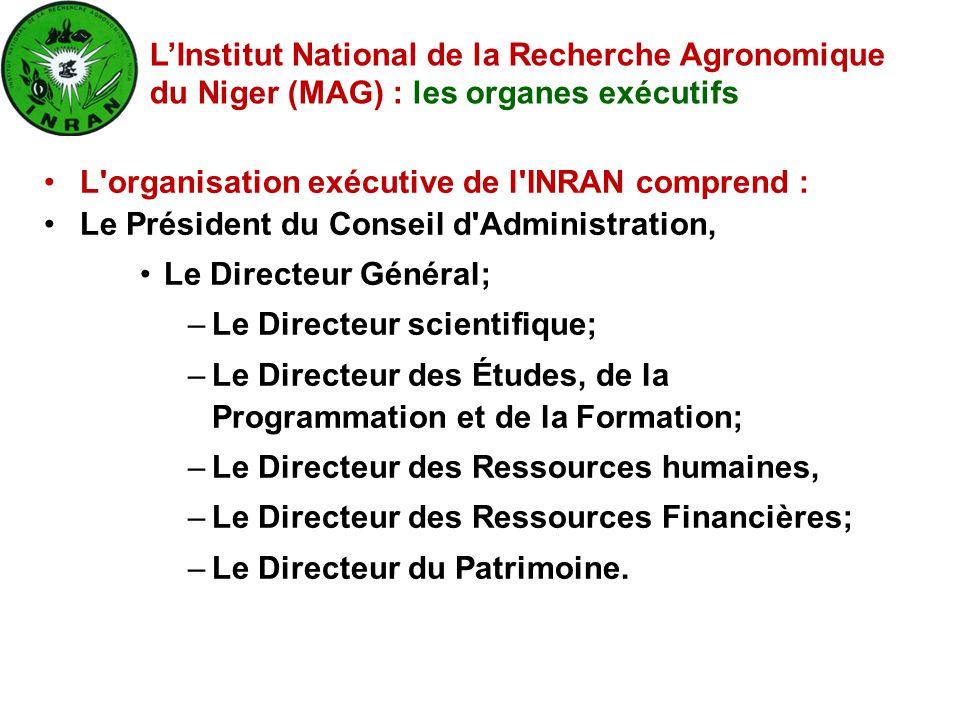 L'organisation exécutive de l'INRAN comprend : Le Président du Conseil d'Administration, Le Directeur Général; –Le Directeur scientifique; –Le Directe