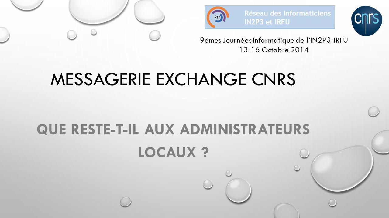 OFFRE DE SERVICES DU CNRS http://www.offres-de-services-unites.net Cloud Recherche Messagerie intégrée Portail Collaboratif CoRe Hébergement Sites Web Own CoRe VisioConf Individuelle ~ 7000 BALs 120 Labos (135 fin 2014) 20 Délégations + DSI + Instituts
