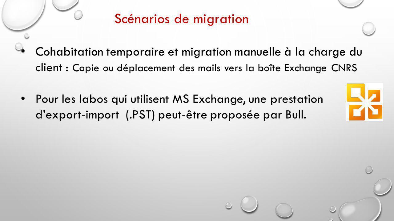 Cohabitation temporaire et migration manuelle à la charge du client : Copie ou déplacement des mails vers la boîte Exchange CNRS Pour les labos qui utilisent MS Exchange, une prestation d'export-import (.PST) peut-être proposée par Bull.