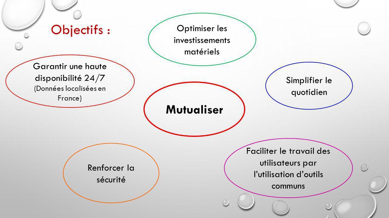Mutualiser Renforcer la sécurité Simplifier le quotidien Optimiser les investissements matériels Garantir une haute disponibilité 24/7 (Données localisées en France) Faciliter le travail des utilisateurs par l'utilisation d'outils communs Objectifs :
