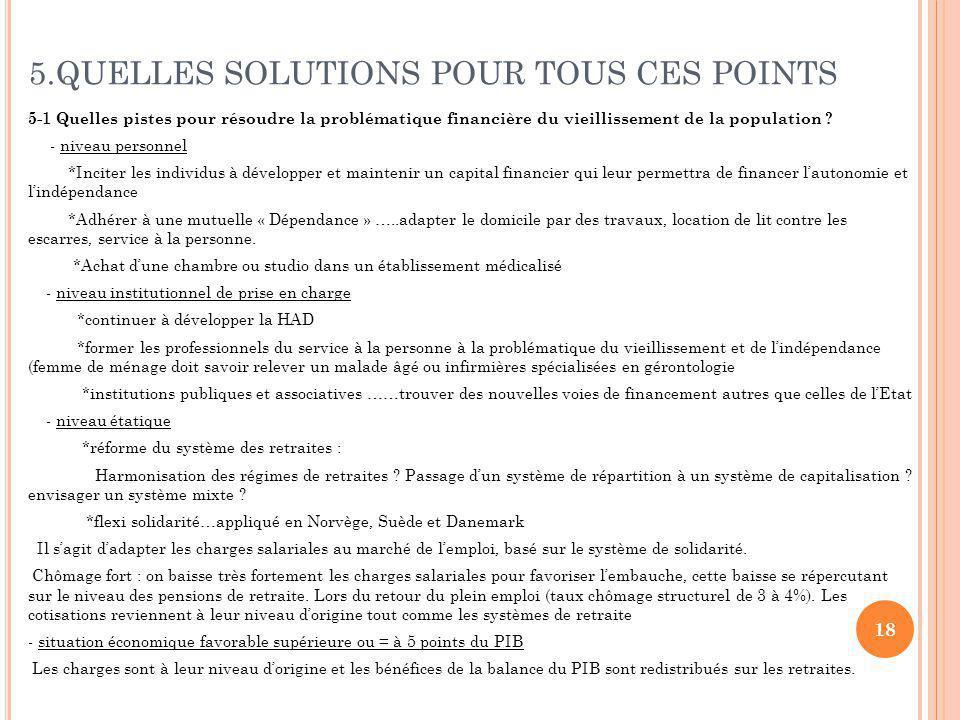 5.QUELLES SOLUTIONS POUR TOUS CES POINTS 5-1 Quelles pistes pour résoudre la problématique financière du vieillissement de la population .
