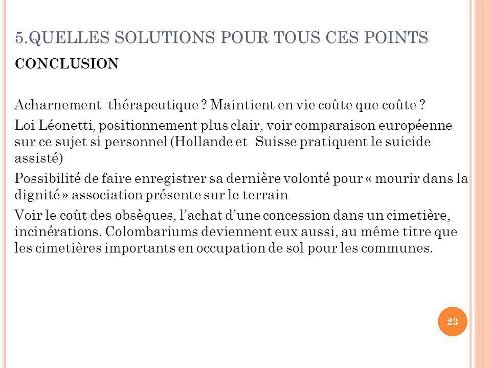 5.QUELLES SOLUTIONS POUR TOUS CES POINTS CONCLUSION Acharnement thérapeutique .