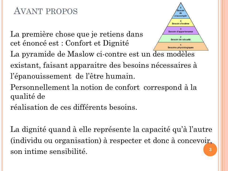 A VANT PROPOS La première chose que je retiens dans cet énoncé est : Confort et Dignité La pyramide de Maslow ci-contre est un des modèles existant, faisant apparaitre des besoins nécessaires à l'épanouissement de l'être humain.