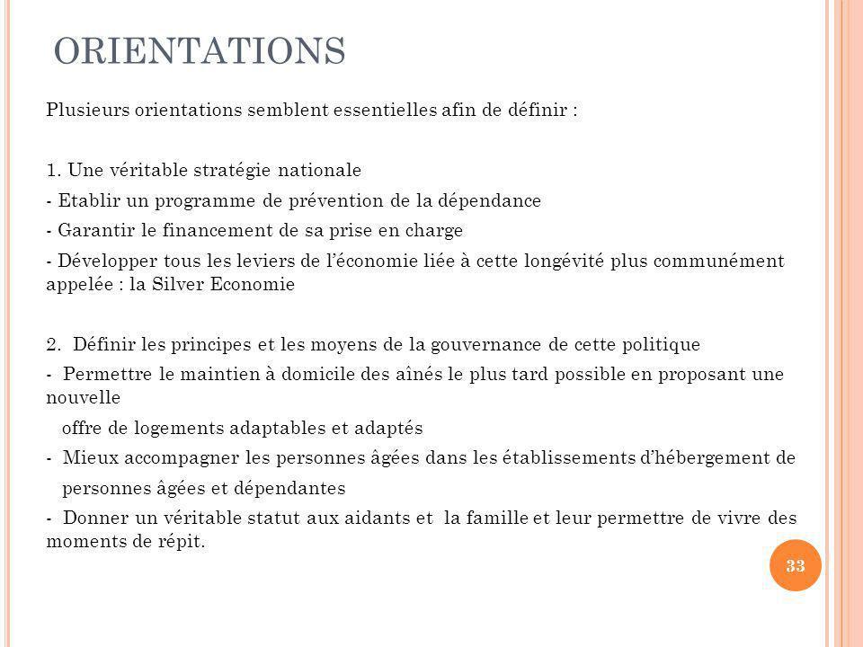 ORIENTATIONS Plusieurs orientations semblent essentielles afin de définir : 1.