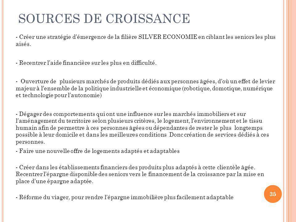 SOURCES DE CROISSANCE - Créer une stratégie d'émergence de la filière SILVER ECONOMIE en ciblant les seniors les plus aisés.