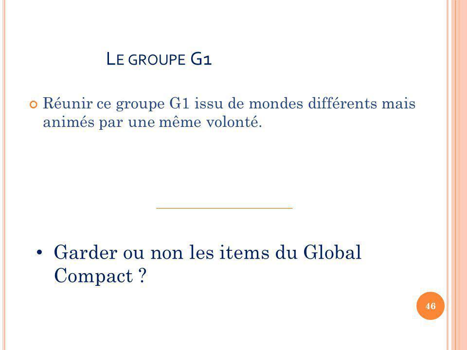 L E GROUPE G1 Réunir ce groupe G1 issu de mondes différents mais animés par une même volonté.