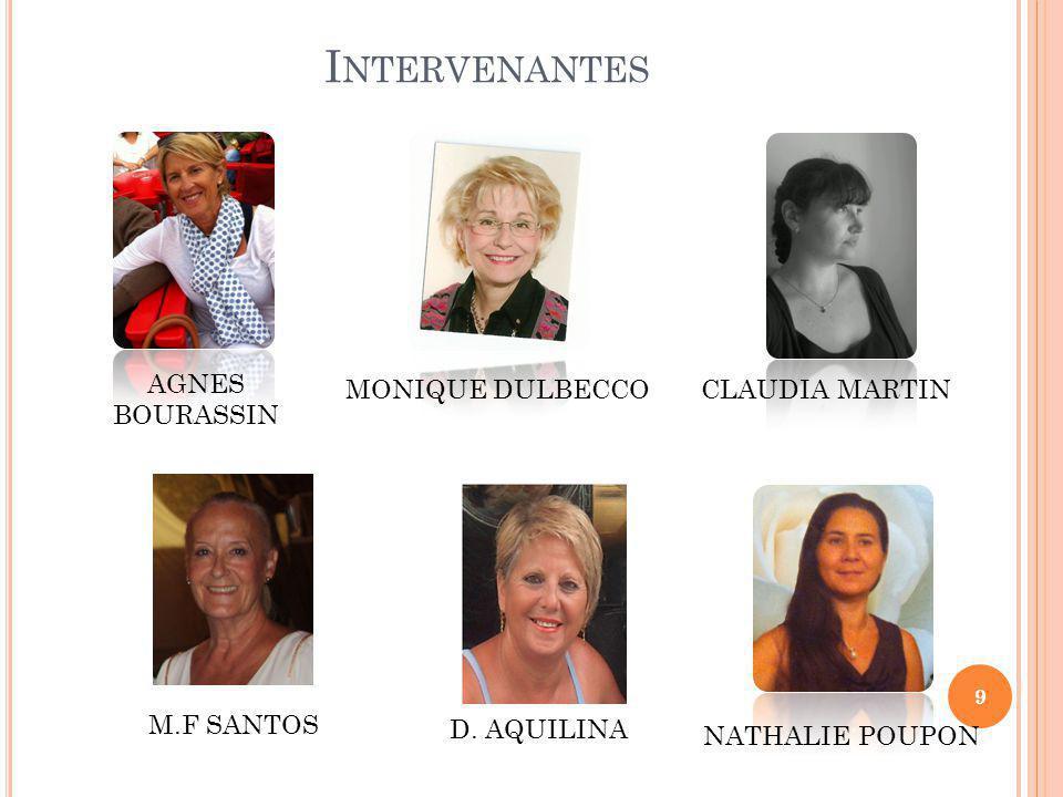 I NTERVENANTES 9 MONIQUE DULBECCOCLAUDIA MARTIN AGNES BOURASSIN NATHALIE POUPON M.F SANTOS D.