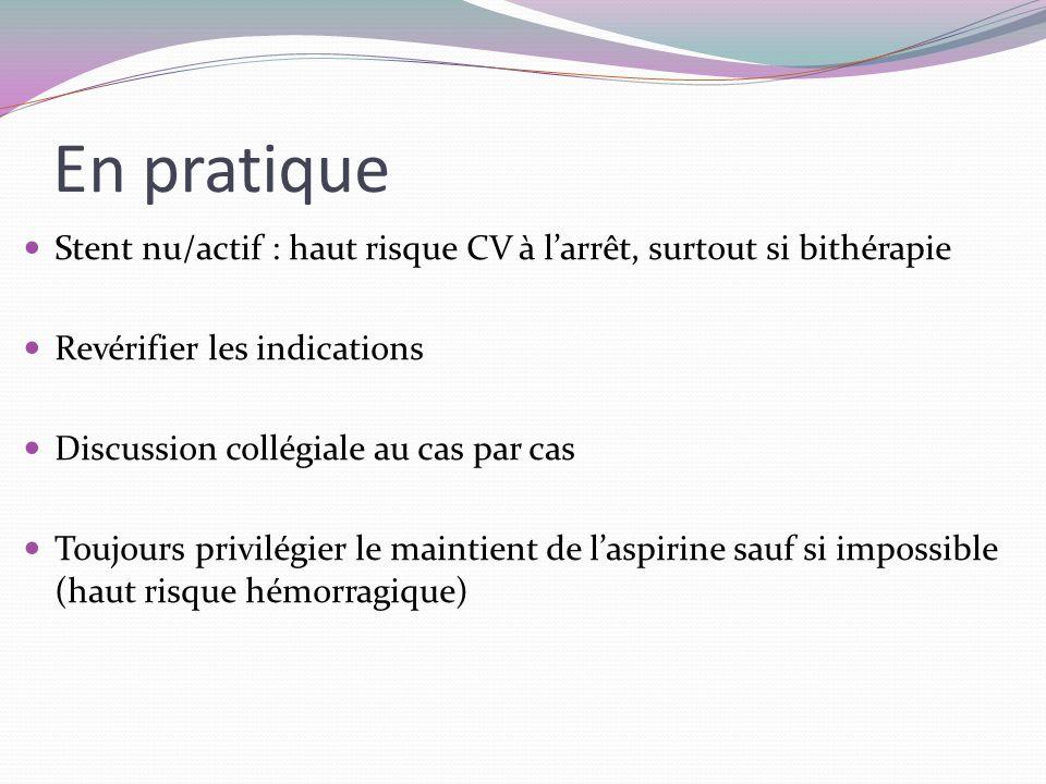Stent nu/actif : haut risque CV à l'arrêt, surtout si bithérapie Revérifier les indications Discussion collégiale au cas par cas Toujours privilégier le maintient de l'aspirine sauf si impossible (haut risque hémorragique) En pratique
