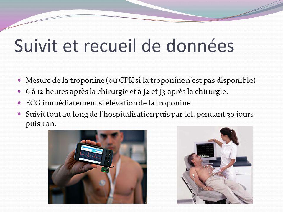 Suivit et recueil de données Mesure de la troponine (ou CPK si la troponine n est pas disponible) 6 à 12 heures après la chirurgie et à J2 et J3 après la chirurgie.