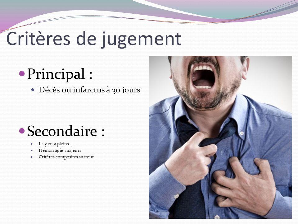 Critères de jugement Principal : Décès ou infarctus à 30 jours Secondaire : Ils y en a pleins… Hémorragie majeurs Critères composites surtout