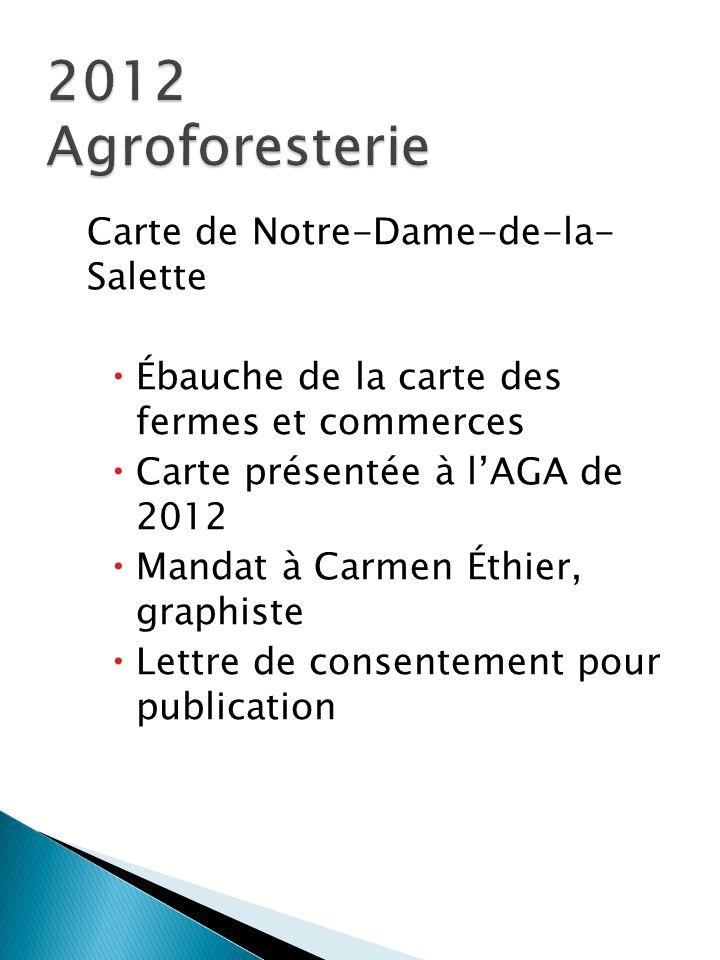 Carte de Notre-Dame-de-la- Salette  Ébauche de la carte des fermes et commerces  Carte présentée à l'AGA de 2012  Mandat à Carmen Éthier, graphiste