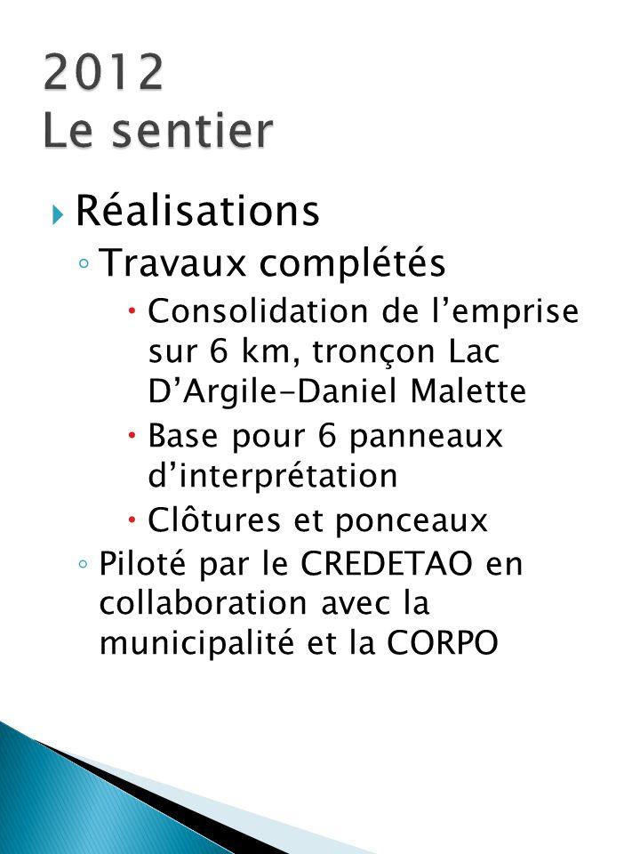  Réalisations ◦ Travaux complétés  Consolidation de l'emprise sur 6 km, tronçon Lac D'Argile-Daniel Malette  Base pour 6 panneaux d'interprétation