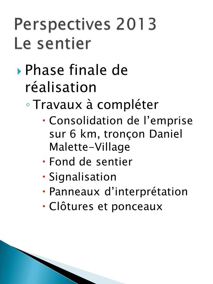  Phase finale de réalisation ◦ Travaux à compléter  Consolidation de l'emprise sur 6 km, tronçon Daniel Malette-Village  Fond de sentier  Signalis