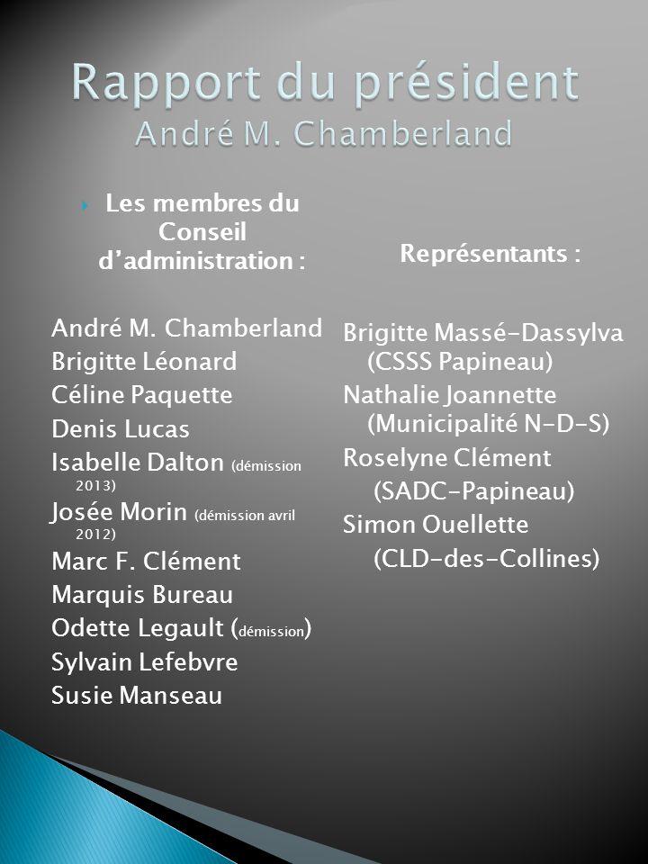  Les membres du Conseil d'administration : André M. Chamberland Brigitte Léonard Céline Paquette Denis Lucas Isabelle Dalton (démission 2013) Josée M