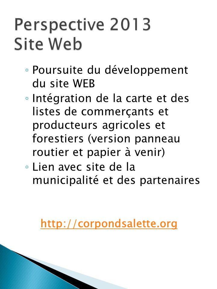 ◦ Poursuite du développement du site WEB ◦ Intégration de la carte et des listes de commerçants et producteurs agricoles et forestiers (version pannea