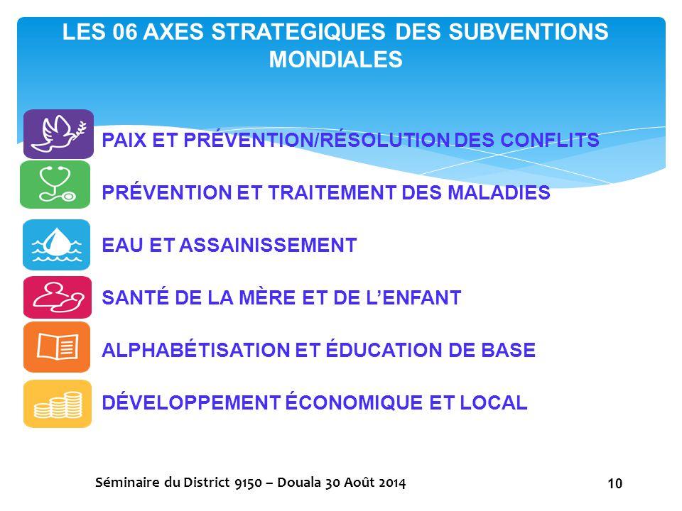 LES 06 AXES STRATEGIQUES DES SUBVENTIONS MONDIALES Séminaire du District 9150 – Douala 30 Août 2014 10 PAIX ET PRÉVENTION/RÉSOLUTION DES CONFLITS PRÉV