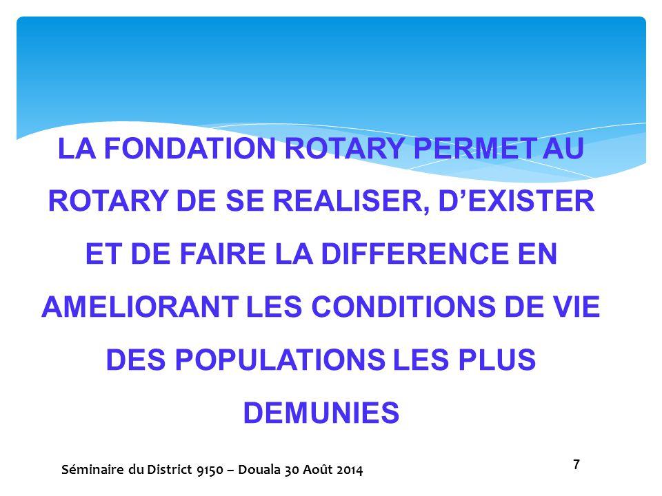 NOUS AVONS 03 MOYENS DE FORTIFIER LA FONDATION ROTARY POUR FAIRE RAYONNER LE ROTARY ET LUI PERMETTRE DE REALISER SON BUT : 1.PARTICIPER AUX PROGRAMMES (SUBVENTIONS) DE LA FONDATION 2.EFFECTUER DES CONTRIBUTIONS CHAQUE ANNEE 3.PARTICIPER A LA COLLECTE DE FONDS AUPRES DES DONATEURS POTENTIELS Séminaire du District 9150 – Douala 30 Août 2014 8