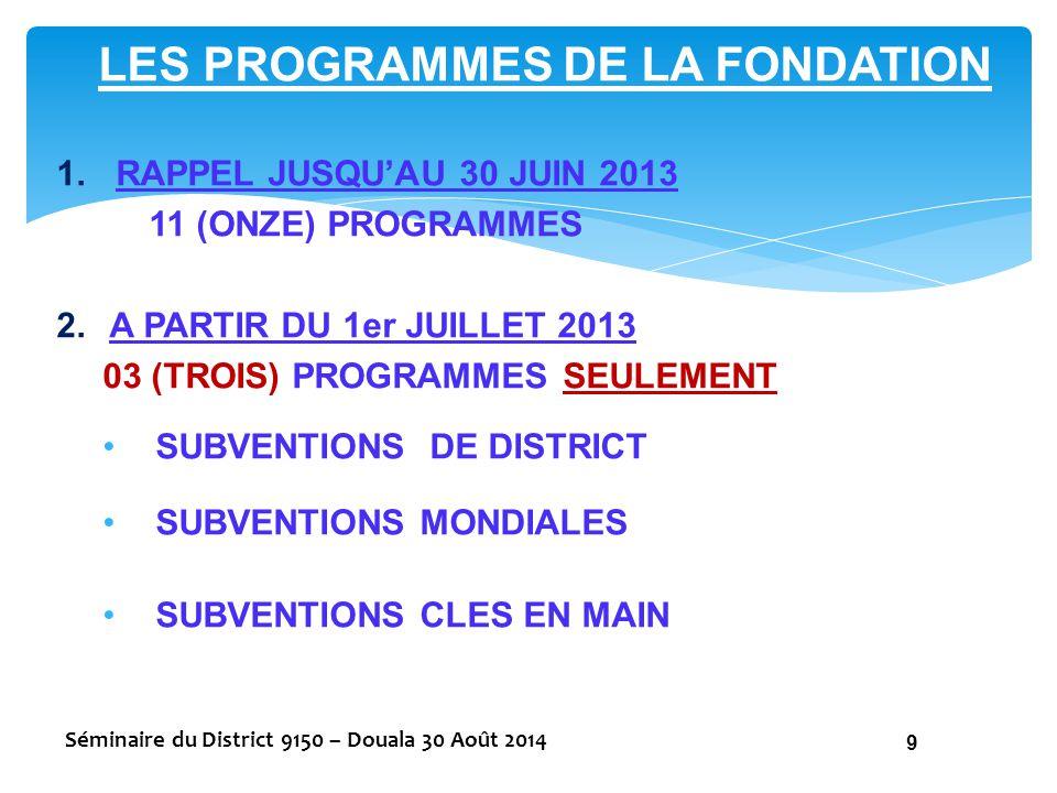 LES PROGRAMMES DE LA FONDATION 1.RAPPEL JUSQU'AU 30 JUIN 2013 11 (ONZE) PROGRAMMES 2.A PARTIR DU 1er JUILLET 2013 03 (TROIS) PROGRAMMES SEULEMENT SUBV