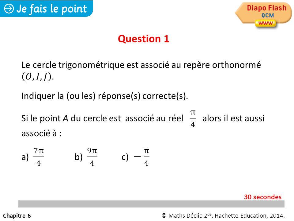 Question 1 Chapitre 6© Maths Déclic 2 de, Hachette Education, 2014. 30 secondes