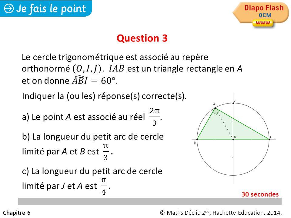 Question 3 Chapitre 6© Maths Déclic 2 de, Hachette Education, 2014. 30 secondes