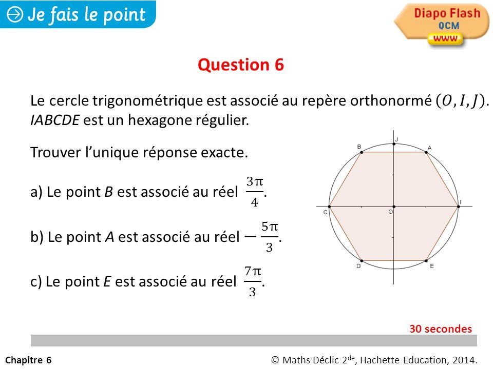 Question 6 Chapitre 6© Maths Déclic 2 de, Hachette Education, 2014. 30 secondes