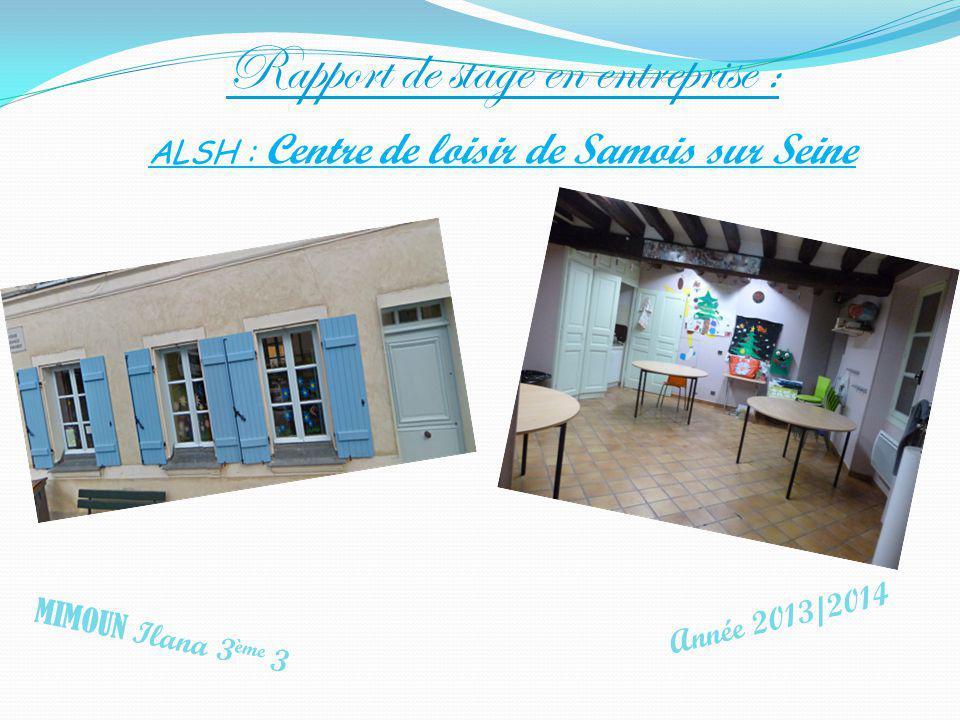 ALSH : Centre de loisir de Samois sur Seine MIMOUN Ilana 3 ème 3 Année 2013/2014 Rapport de stage en entreprise :
