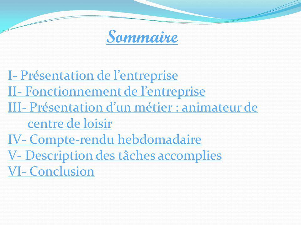 Sommaire I- Présentation de l'entreprise II- Fonctionnement de l'entreprise III- Présentation d'un métier : animateur de centre de loisir IV- Compte-r