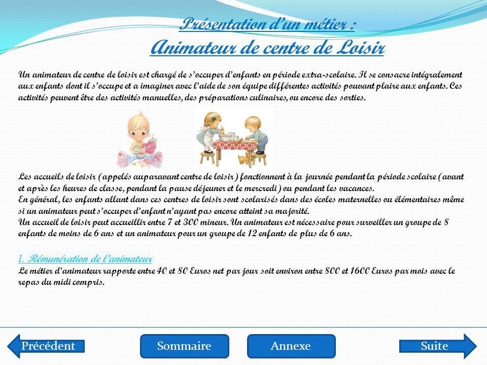Précédent SommaireSuivantAnnexe Présentation d'un métier : Animateur de centre de Loisir (suite) III.