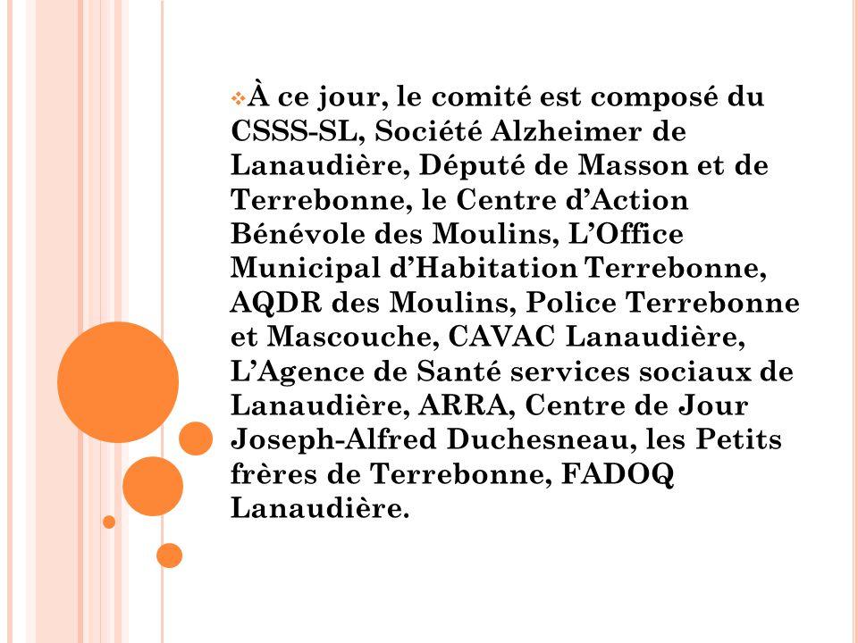  À ce jour, le comité est composé du CSSS-SL, Société Alzheimer de Lanaudière, Député de Masson et de Terrebonne, le Centre d'Action Bénévole des Moulins, L'Office Municipal d'Habitation Terrebonne, AQDR des Moulins, Police Terrebonne et Mascouche, CAVAC Lanaudière, L'Agence de Santé services sociaux de Lanaudière, ARRA, Centre de Jour Joseph-Alfred Duchesneau, les Petits frères de Terrebonne, FADOQ Lanaudière.