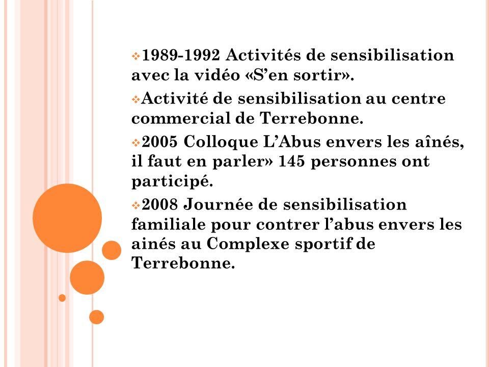  1989-1992 Activités de sensibilisation avec la vidéo «S'en sortir».  Activité de sensibilisation au centre commercial de Terrebonne.  2005 Colloqu