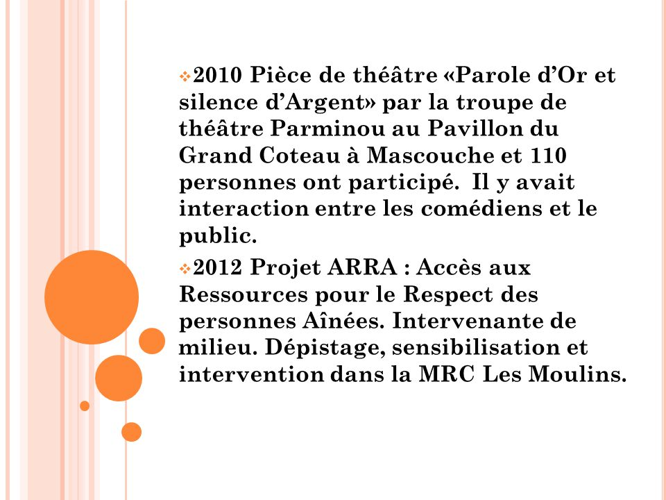  2010 Pièce de théâtre «Parole d'Or et silence d'Argent» par la troupe de théâtre Parminou au Pavillon du Grand Coteau à Mascouche et 110 personnes ont participé.