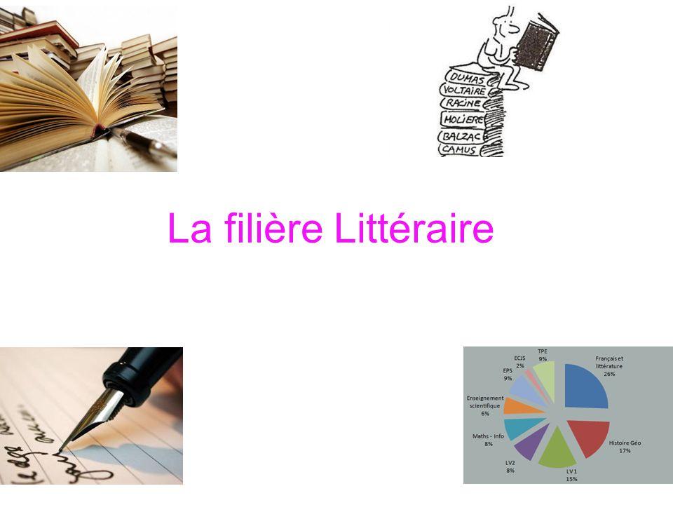  La filière littéraire est une filière d enseignement général ouverte aux esprits curieux et aimant la réflexion.