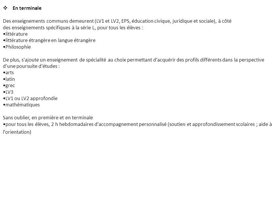 * Enseignements facultatifs : Art (théâtre), Latin, LV3, First.
