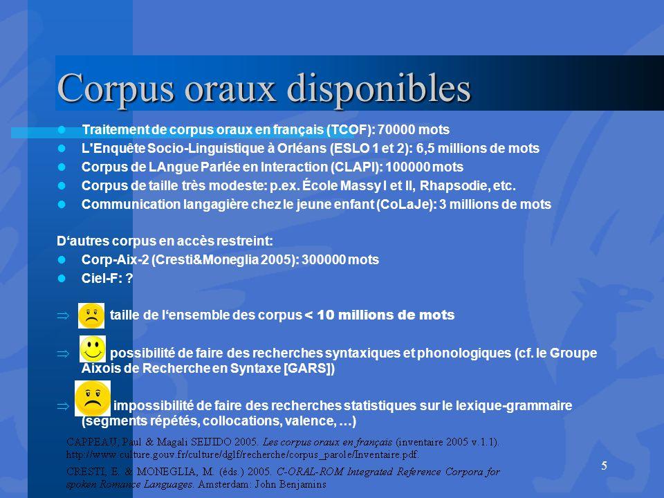 Corpus oraux disponibles Traitement de corpus oraux en français (TCOF): 70000 mots L'Enquête Socio-Linguistique à Orléans (ESLO 1 et 2): 6,5 millions