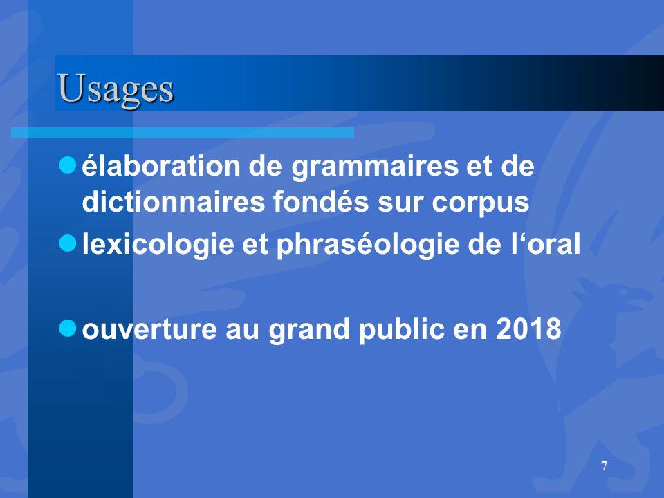 Usages élaboration de grammaires et de dictionnaires fondés sur corpus lexicologie et phraséologie de l'oral ouverture au grand public en 2018 7