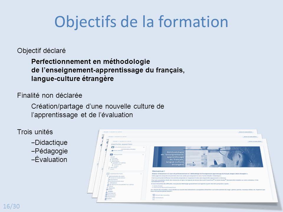 Objectif déclaré Perfectionnement en méthodologie de l'enseignement-apprentissage du français, langue-culture étrangère Finalité non déclarée Création