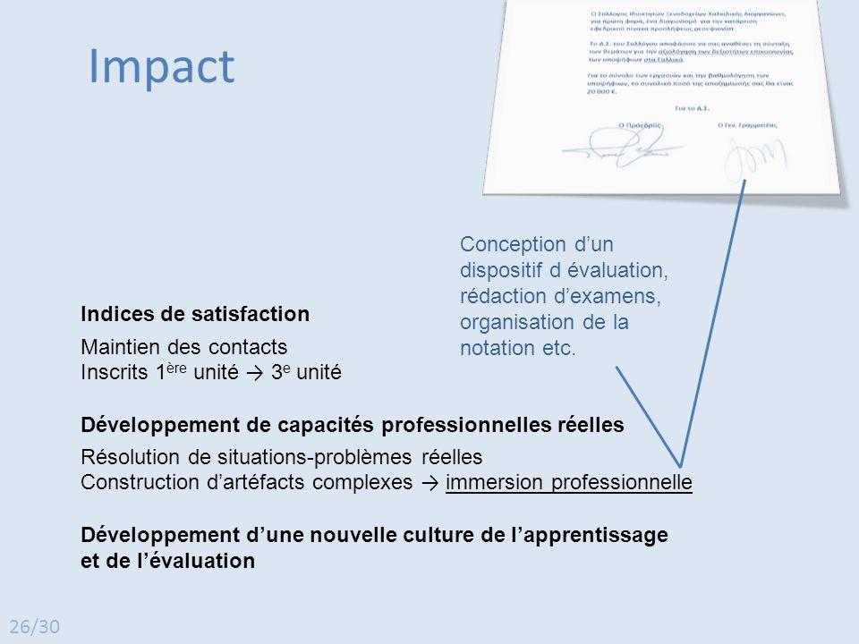 Impact Indices de satisfaction Maintien des contacts Inscrits 1 ère unité → 3 e unité Développement de capacités professionnelles réelles Résolution d