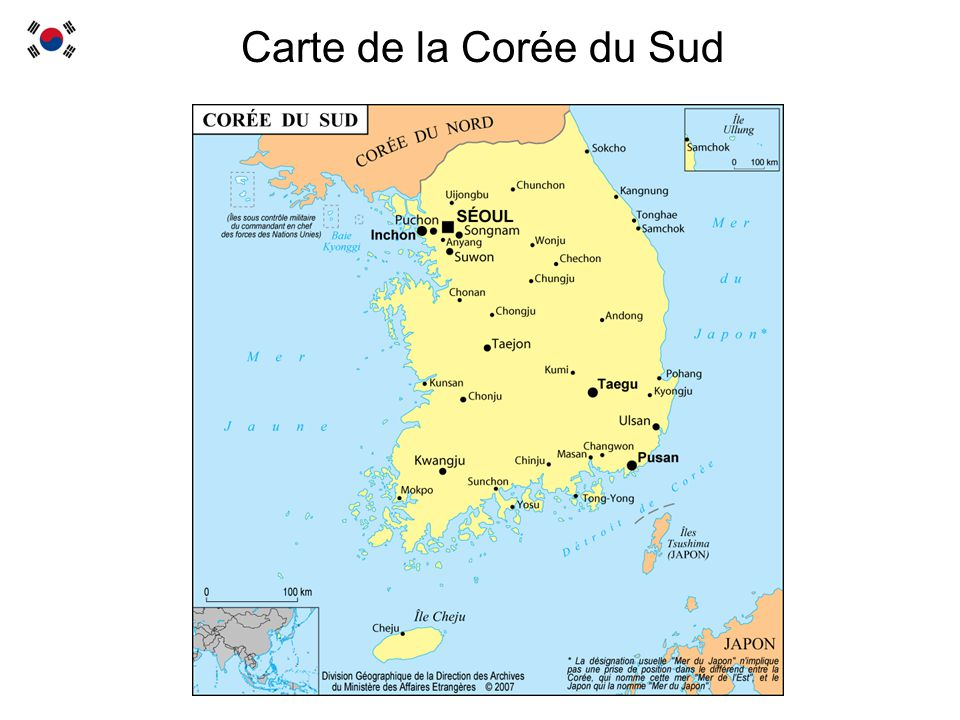 Carte de la Corée du Sud
