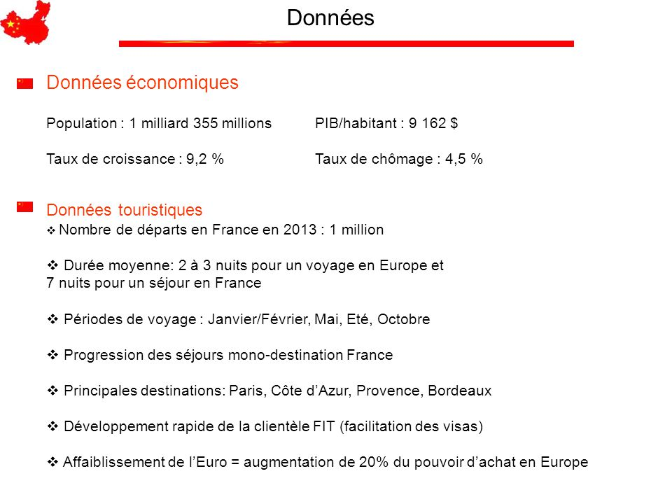 Données Données touristiques  Nombre de départs en France en 2013 : 1 million  Durée moyenne: 2 à 3 nuits pour un voyage en Europe et 7 nuits pour u