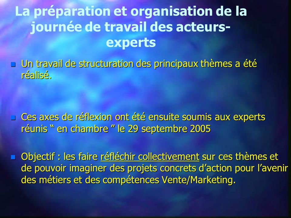 La préparation et organisation de la journée de travail des acteurs- experts n Un travail de structuration des principaux thèmes a été réalisé.