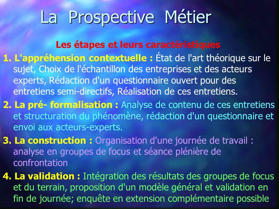 La Prospective Métier Les étapes et leurs caractéristiques 1.