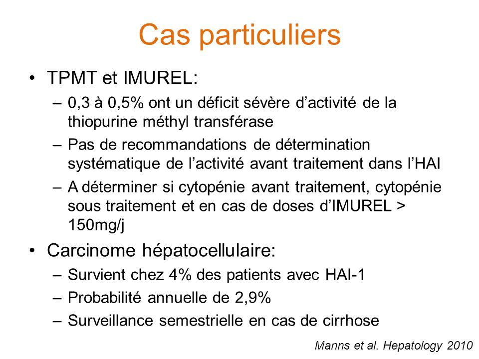 Cas particuliers TPMT et IMUREL: –0,3 à 0,5% ont un déficit sévère d'activité de la thiopurine méthyl transférase –Pas de recommandations de détermination systématique de l'activité avant traitement dans l'HAI –A déterminer si cytopénie avant traitement, cytopénie sous traitement et en cas de doses d'IMUREL > 150mg/j Carcinome hépatocellulaire: –Survient chez 4% des patients avec HAI-1 –Probabilité annuelle de 2,9% –Surveillance semestrielle en cas de cirrhose Manns et al.