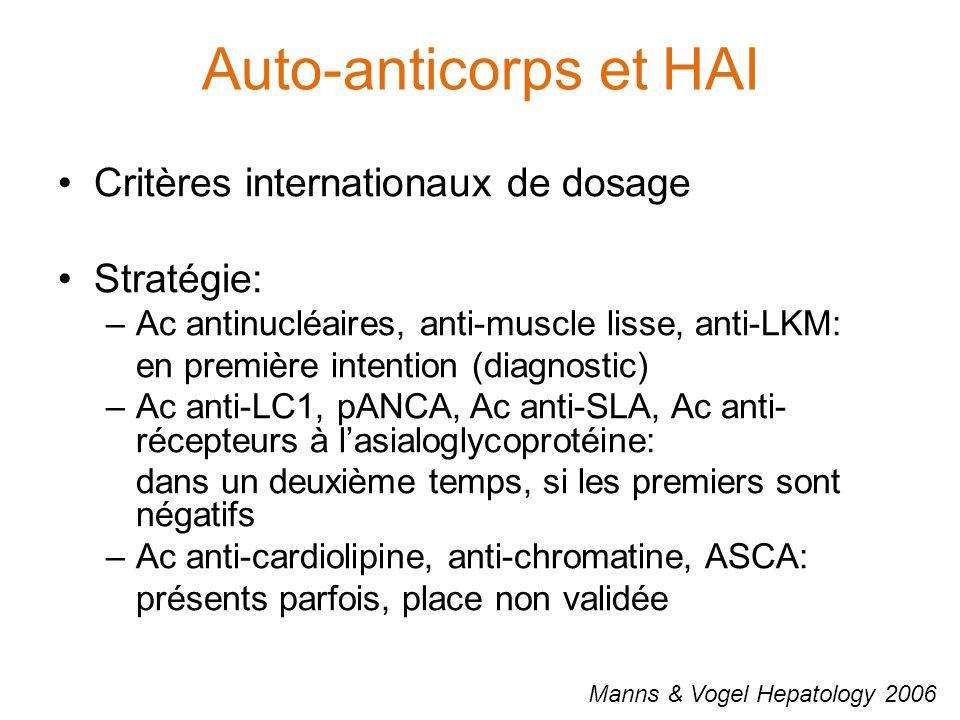 Auto-anticorps et HAI Manns & Vogel Hepatology 2006 Critères internationaux de dosage Stratégie: –Ac antinucléaires, anti-muscle lisse, anti-LKM: en première intention (diagnostic) –Ac anti-LC1, pANCA, Ac anti-SLA, Ac anti- récepteurs à l'asialoglycoprotéine: dans un deuxième temps, si les premiers sont négatifs –Ac anti-cardiolipine, anti-chromatine, ASCA: présents parfois, place non validée