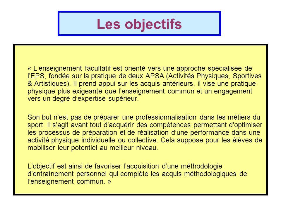 Les objectifs « L'enseignement facultatif est orienté vers une approche spécialisée de l'EPS, fondée sur la pratique de deux APSA (Activités Physiques, Sportives & Artistiques).