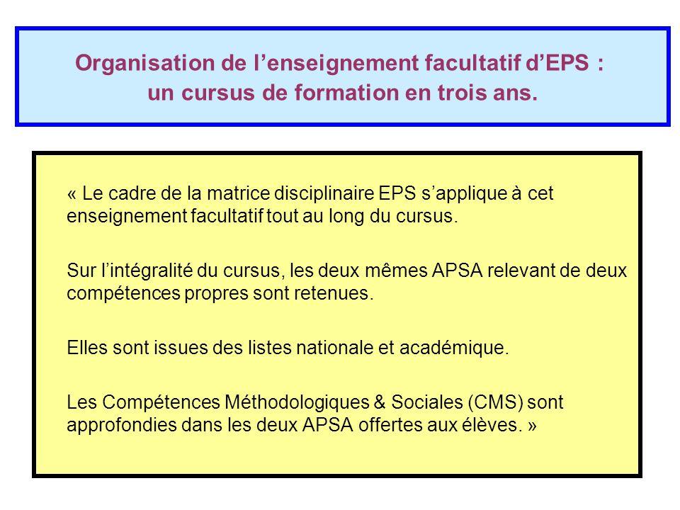 Organisation de l'enseignement facultatif d'EPS : un cursus de formation en trois ans. « Le cadre de la matrice disciplinaire EPS s'applique à cet ens