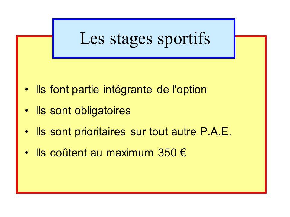Les stages sportifs Ils font partie intégrante de l'option Ils sont obligatoires Ils sont prioritaires sur tout autre P.A.E. Ils coûtent au maximum 35