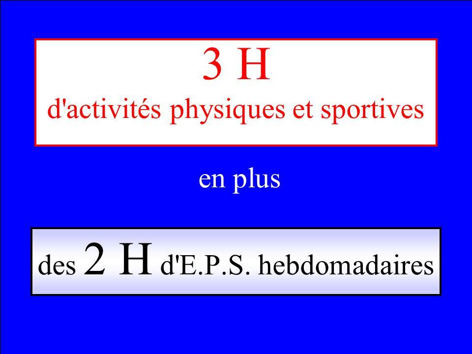 3 H d activités physiques et sportives en plus des 2 H d E.P.S. hebdomadaires