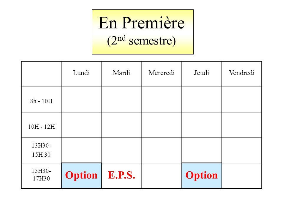 En Première (2 nd semestre) LundiMardiMercrediJeudiVendredi 8h - 10H 10H - 12H 13H30- 15H 30 15H30- 17H30 OptionE.P.S.Option